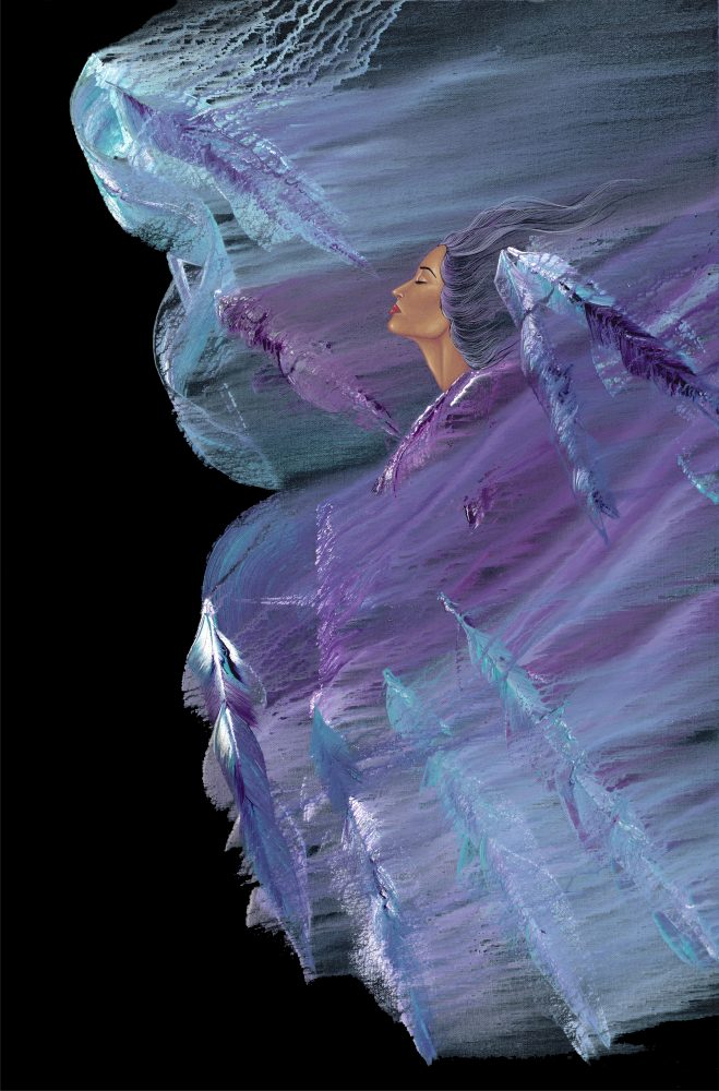 Native American Woman with Blue and Purple feathers in the wind
